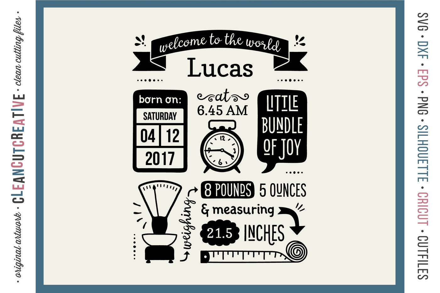 Birth Stats Template Baby Birth Announcement Svg Dxf Eps Png