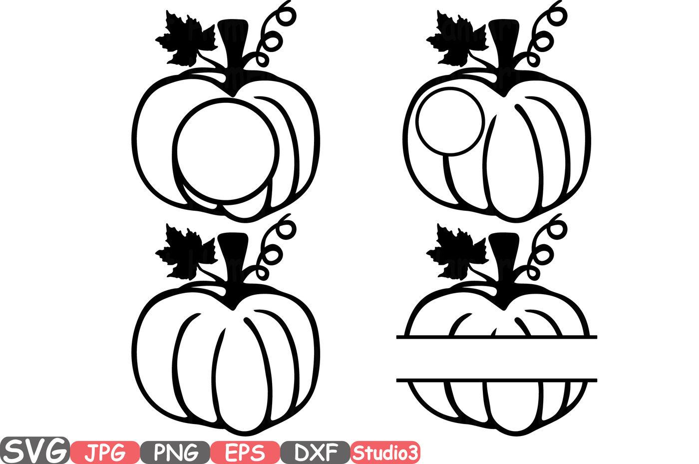 Pumpkin Split Circle Monogram Silhouette Svg Cutting Files