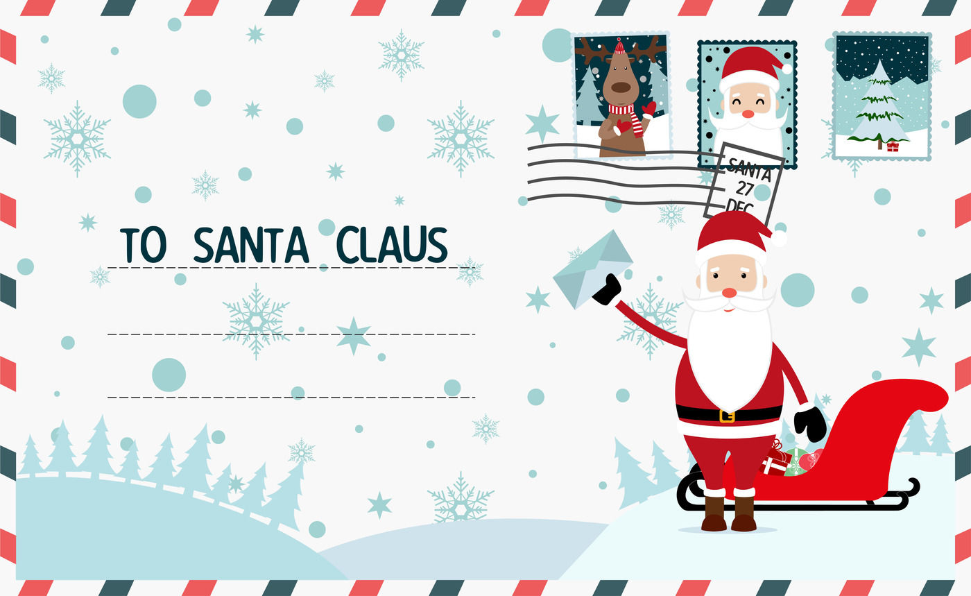 Christmas Letter To Santa Claus Merry Christmas And Happy New