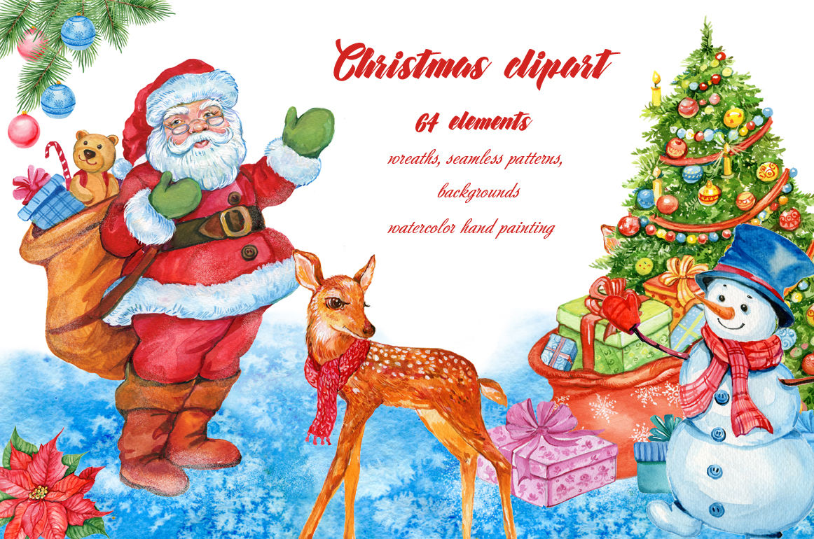Christmas Watercolor Clipart By Clipart Shop Thehungryjpeg Com