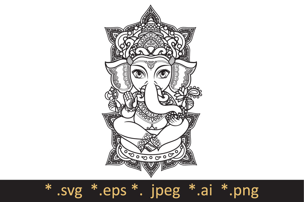 Hindu Elephant Head God Lord Ganesh Template For Coloring Book