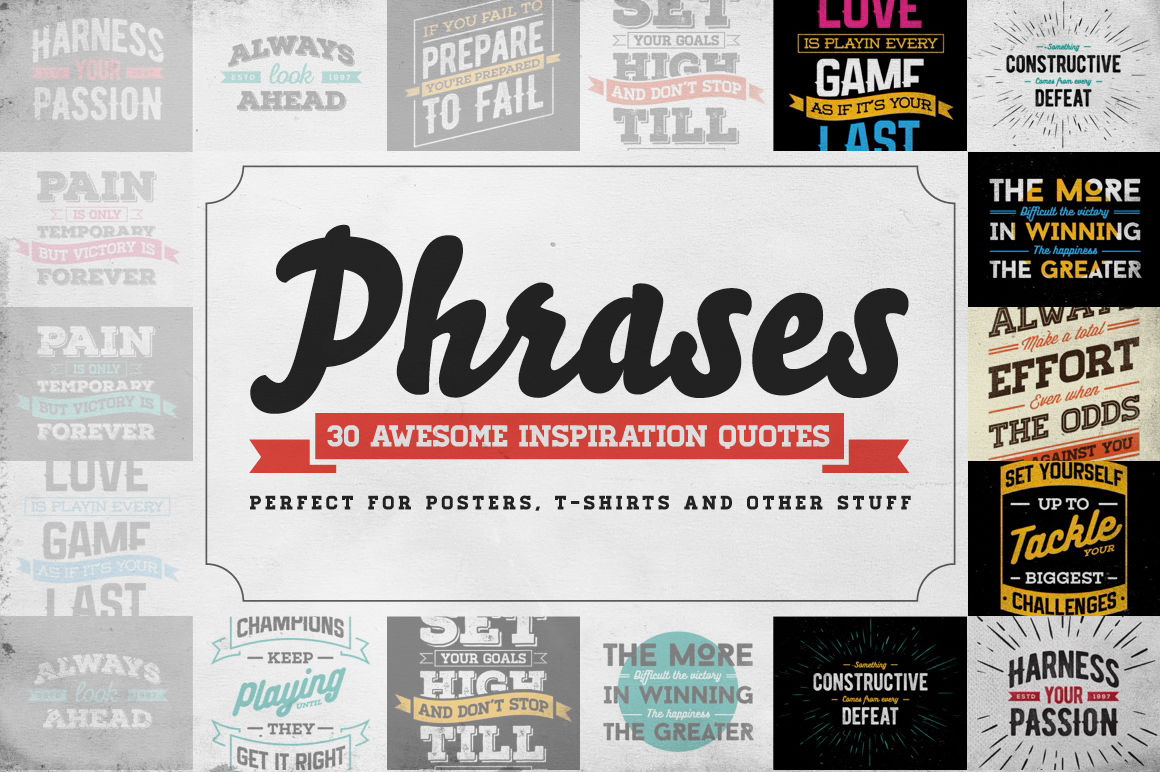 Awesome 30 Vector Phrases And Quotes By Ckybe S Store