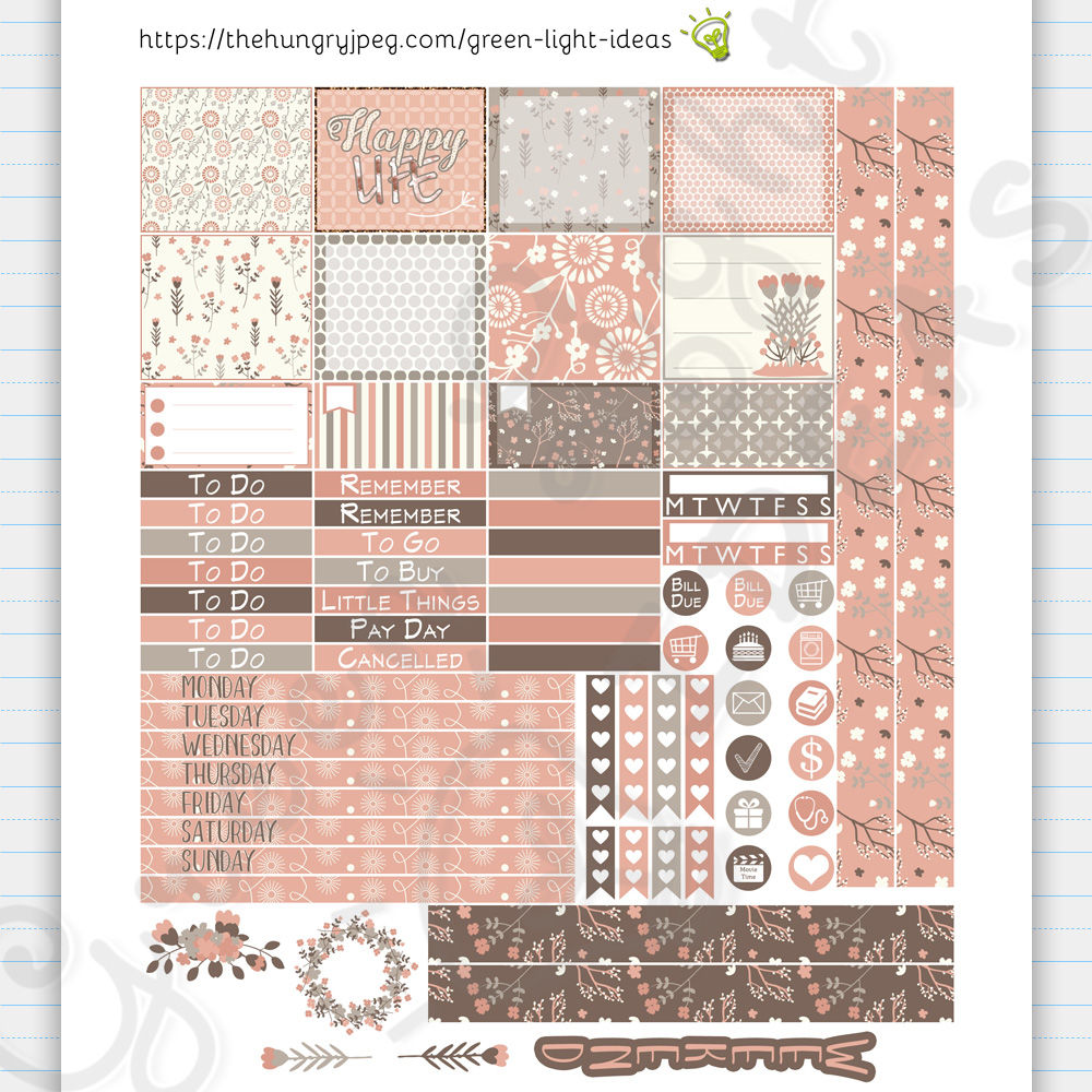 Gray And Blush Mini Happy Planner Stickers By Green Light Ideas