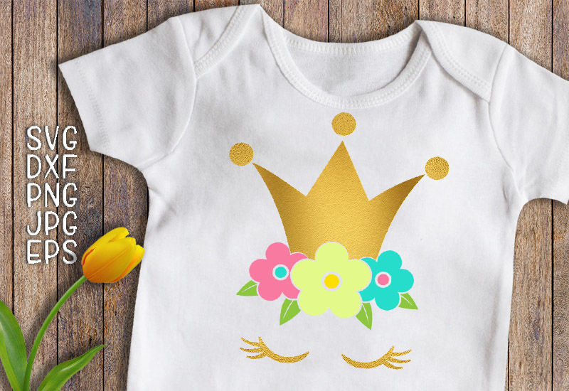 Princess Svg Princess Birthday Svg Unicorn Face Svg Gold Crown