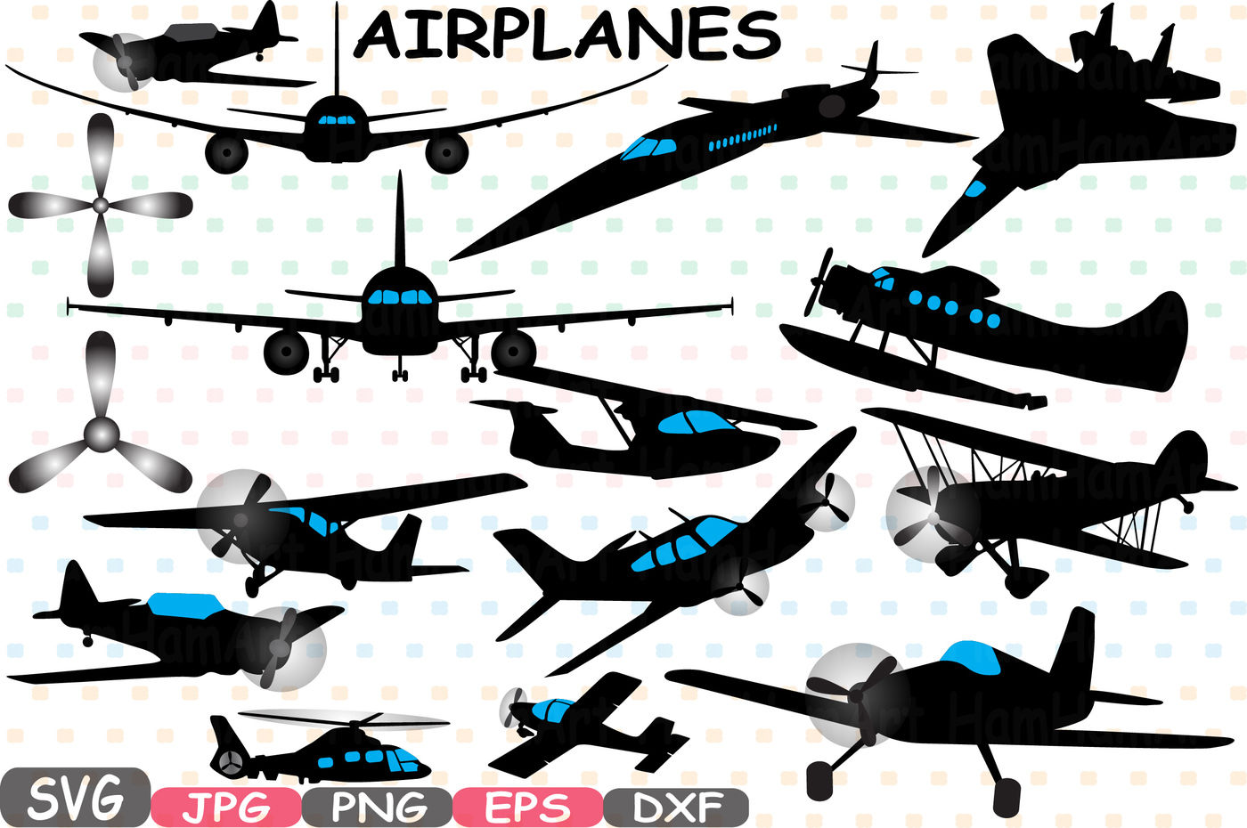 Airplane Silhouette Patriotic Cutting Files Planes