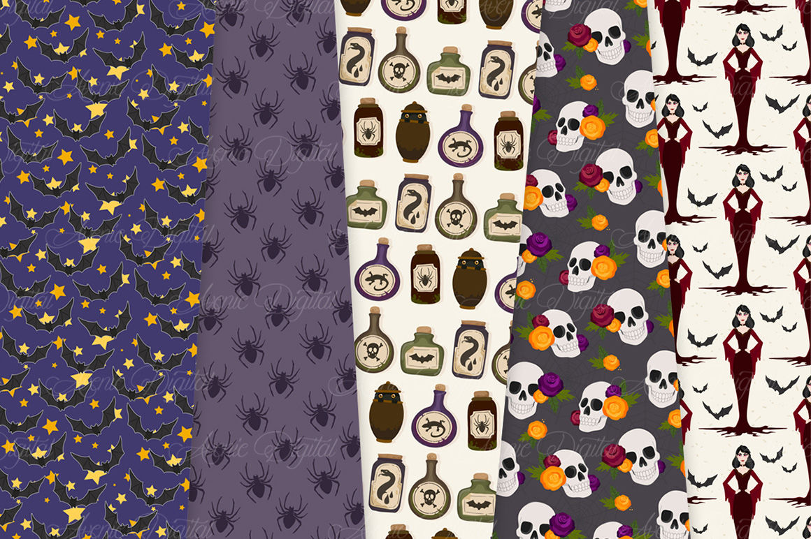 Spooky Halloween Digital Paper Patterns By Aveniedigital Thehungryjpeg Com
