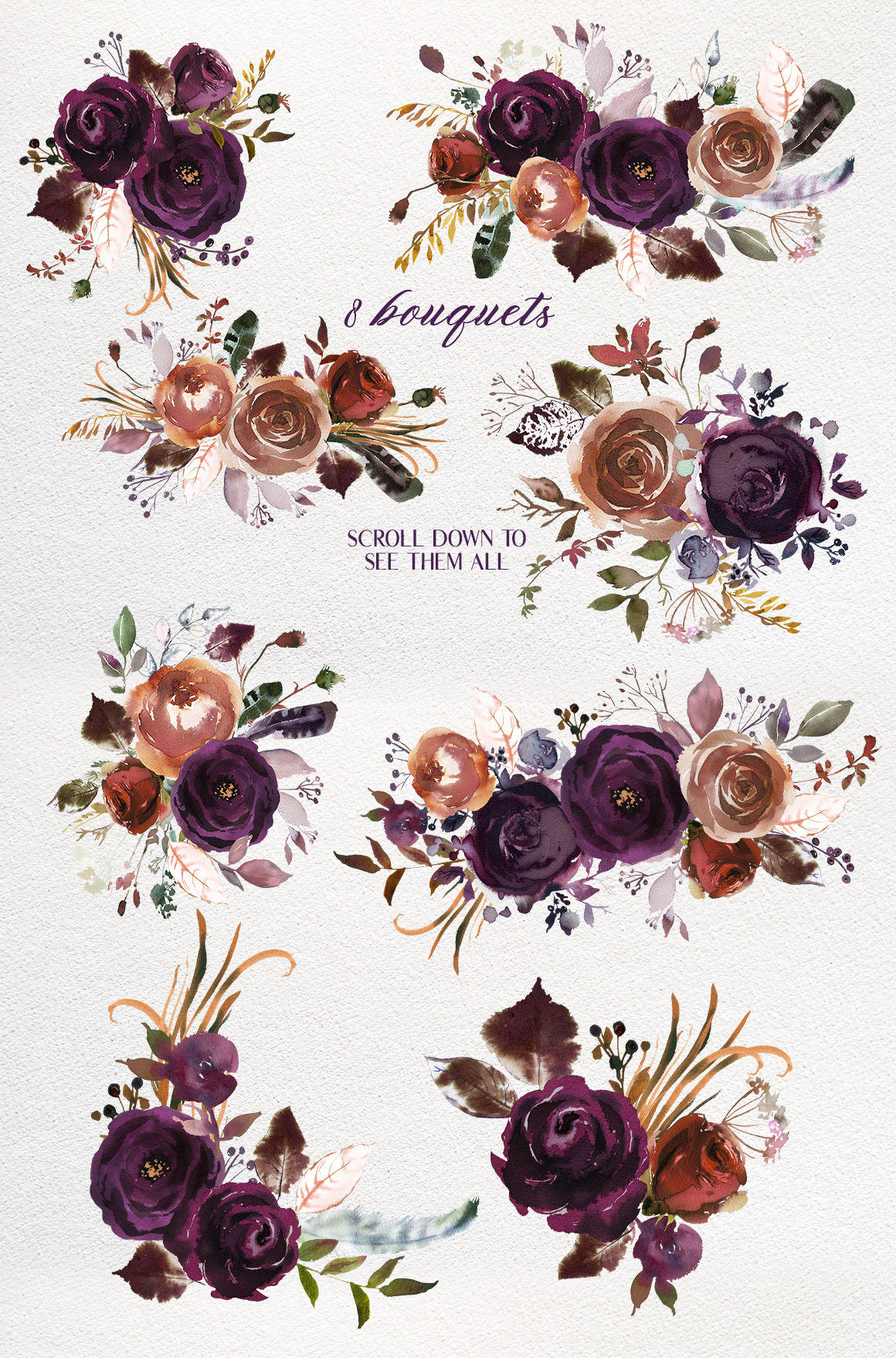 Butterum Plum Boho Watercolor Florals Png By