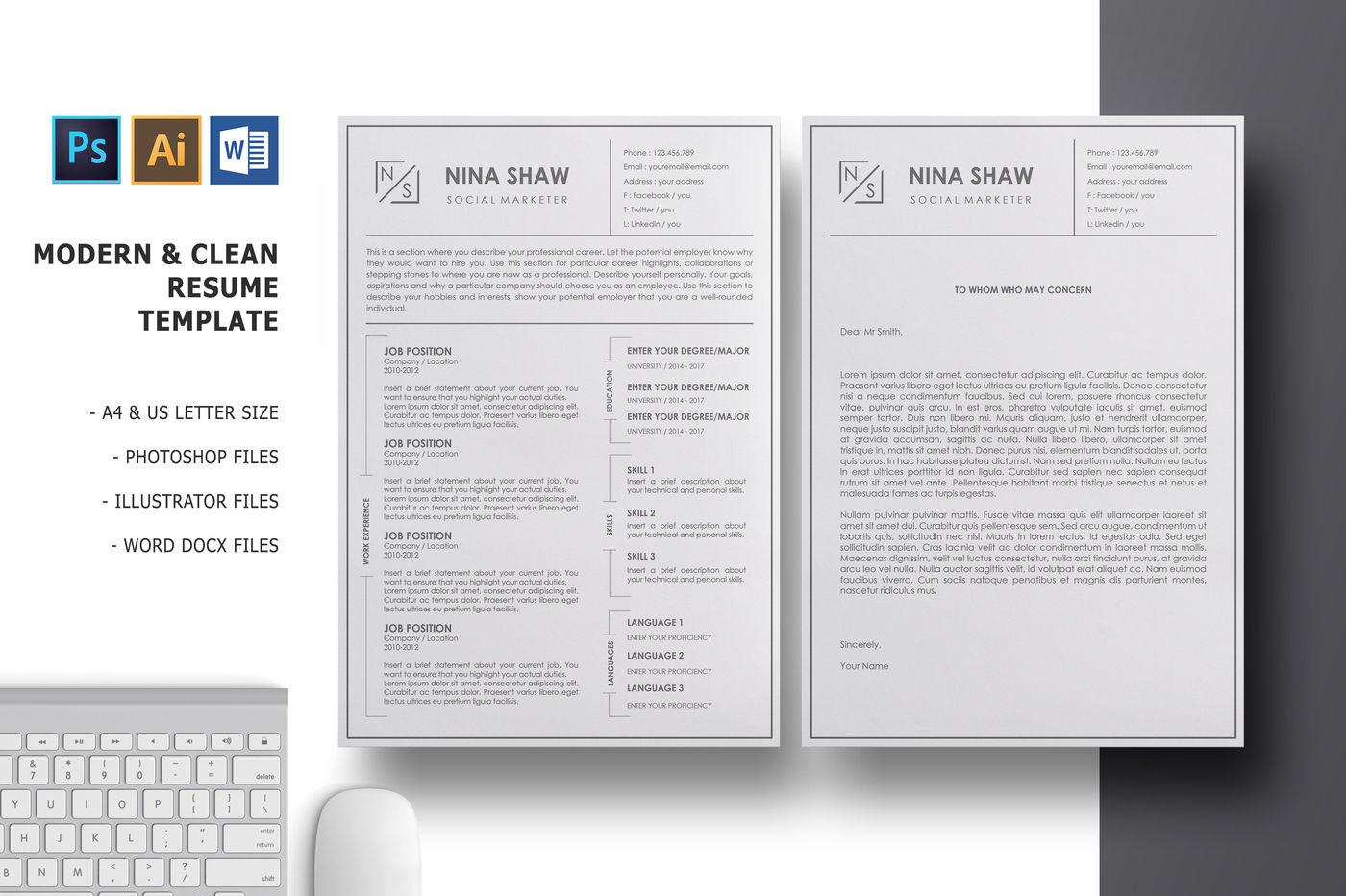 Lacerta Resume Template By Nina Shaw Designer Thehungryjpeg Com