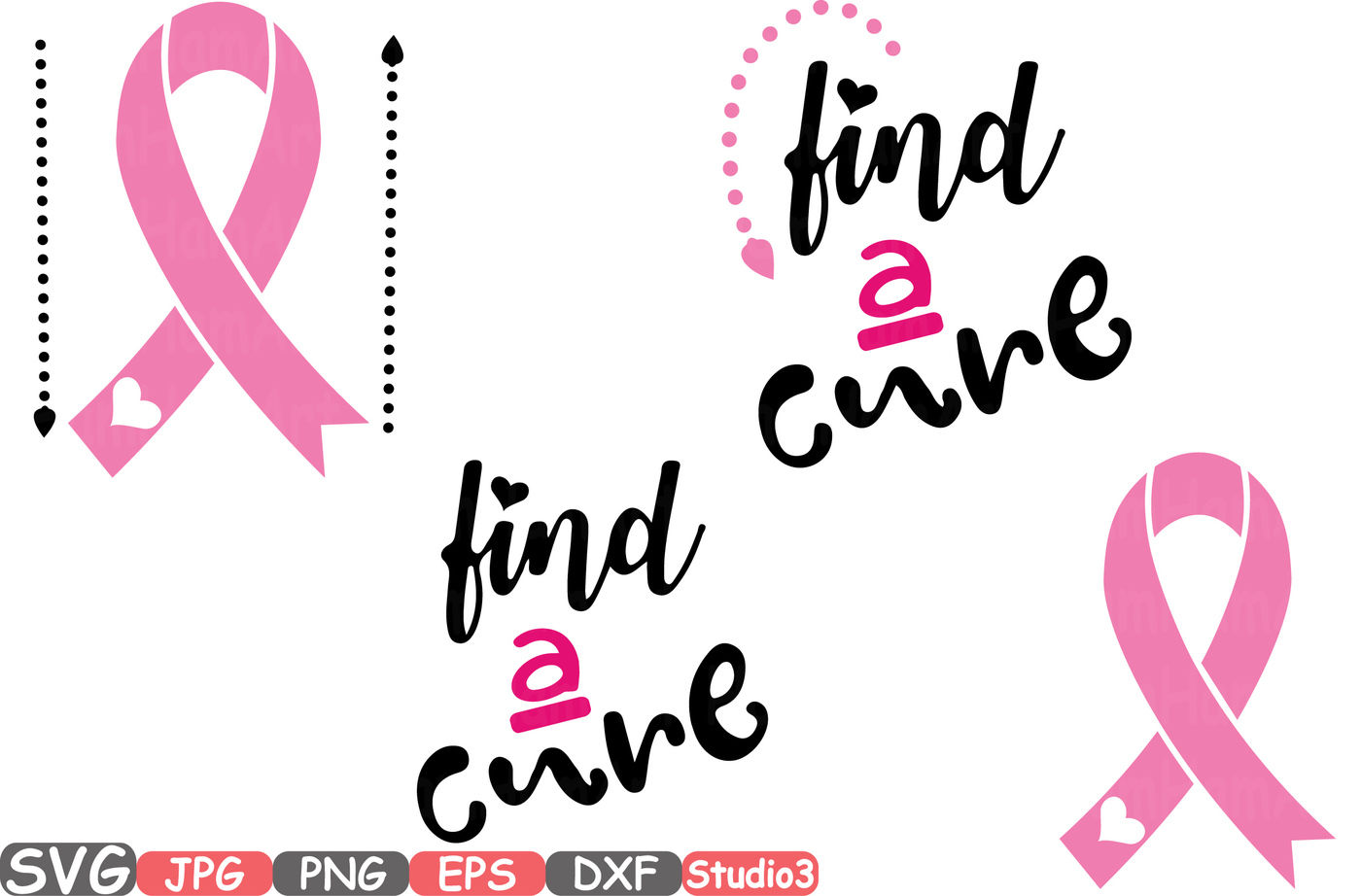 Find A Cure Breast Cancer Ribbon Monogram Silhouette Svg Cutting Files Digital Clip Art Graphic Studio3 Cricut Cuttable Die Cut Machines Cure 57sv By Hamhamart Thehungryjpeg Com