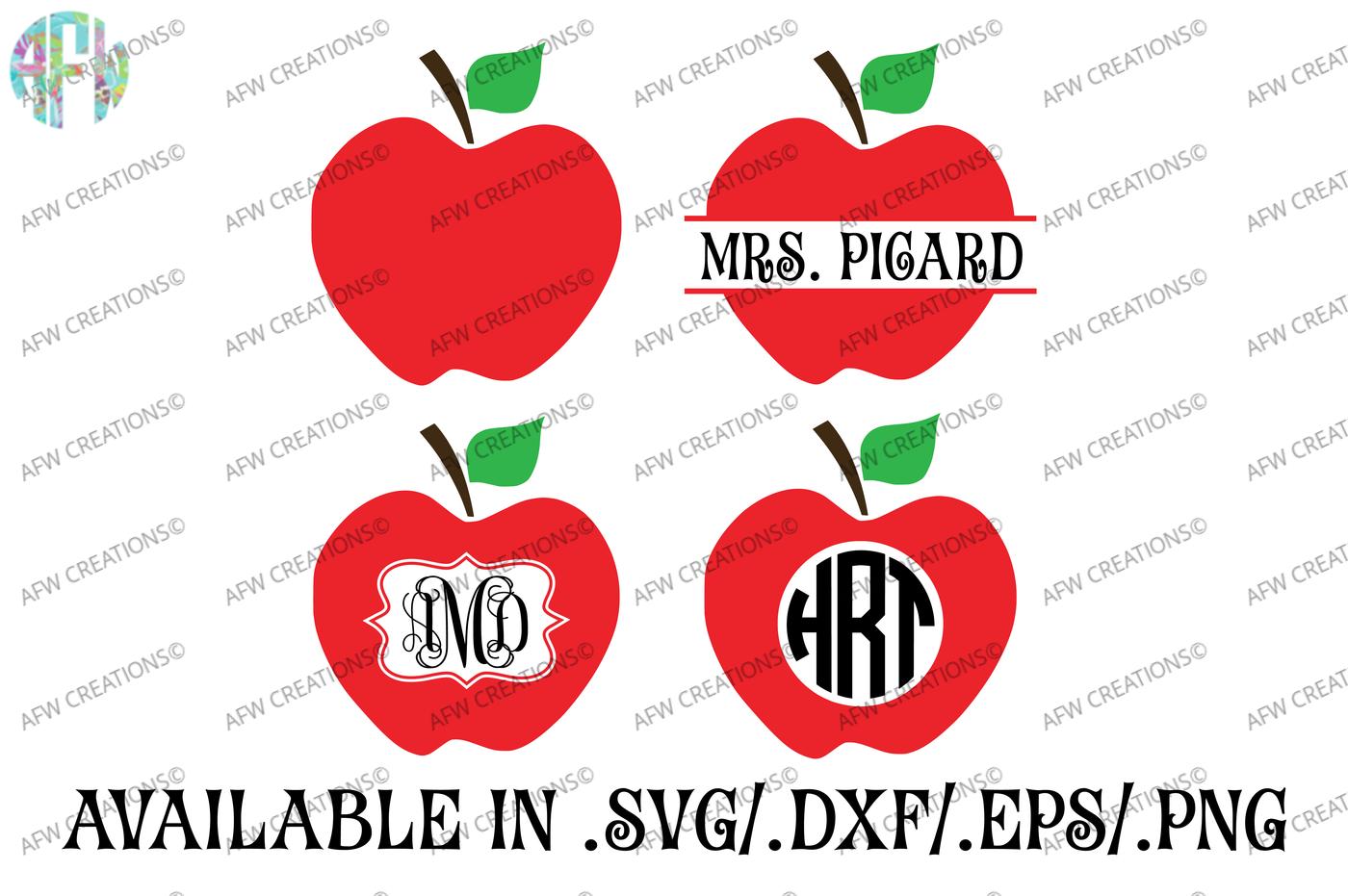 Split Monogram Apples Svg Dxf Eps Cut Files By Afw Designs Thehungryjpeg Com