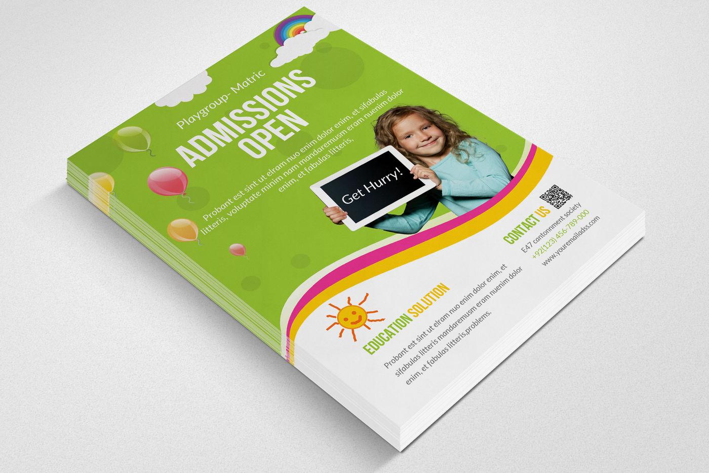 Creative School Admission Open Flyers By Designhub | TheHungryJPEG com
