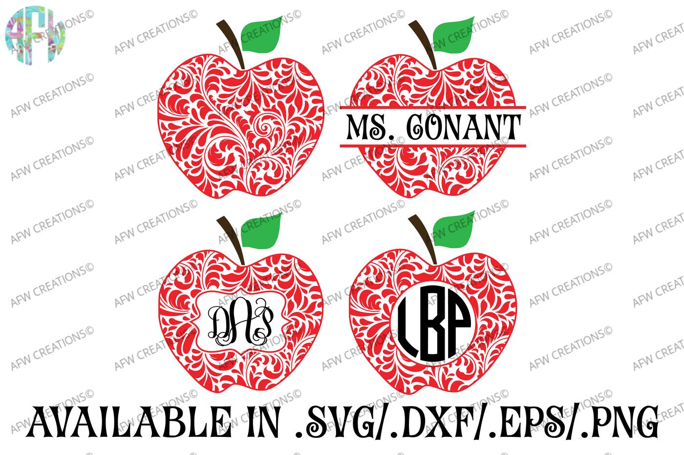 Floral Split Monogram Apples Svg Dxf Eps Cut Files By Afw