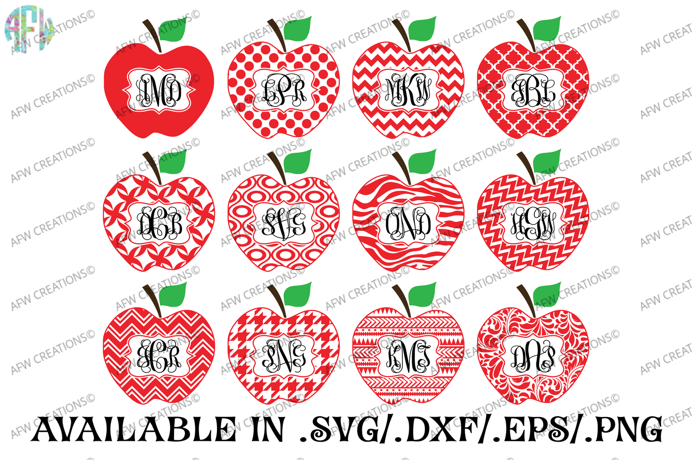 Square Monogram Pattern Apples Svg Dxf Eps Cut Files By Afw