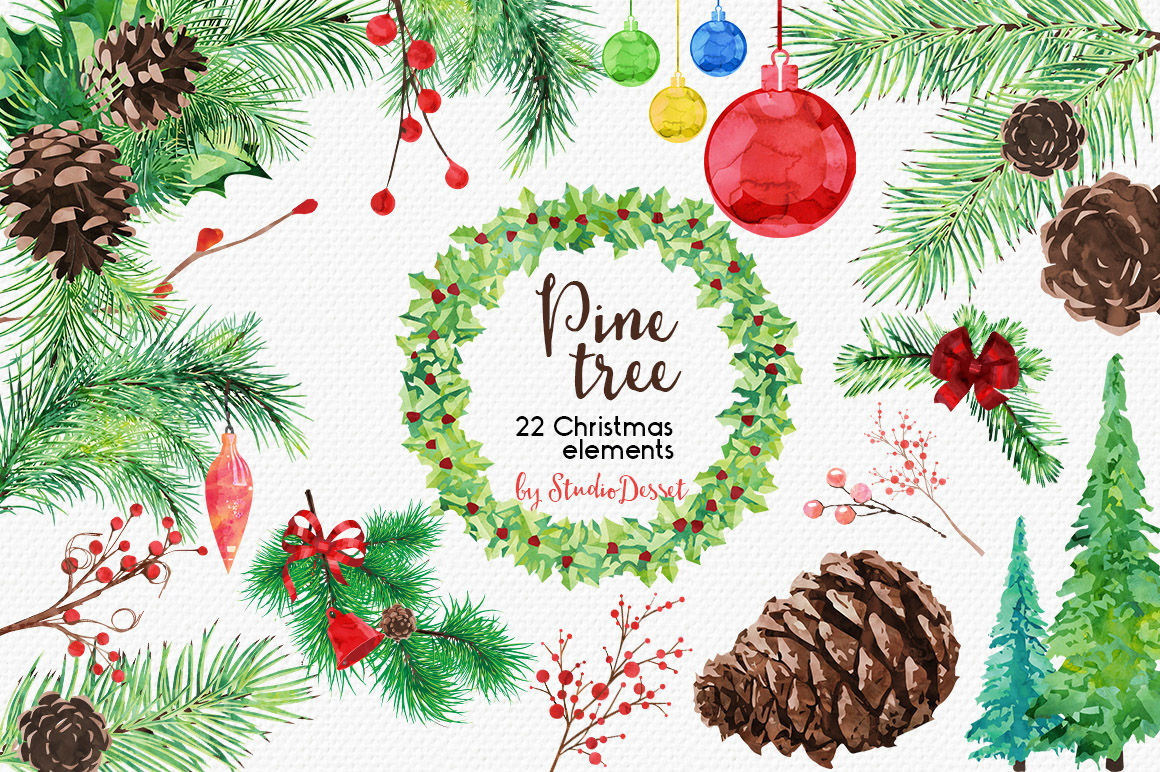 Pine Tree Watercolor Christmas Cliparts By Studiodesset