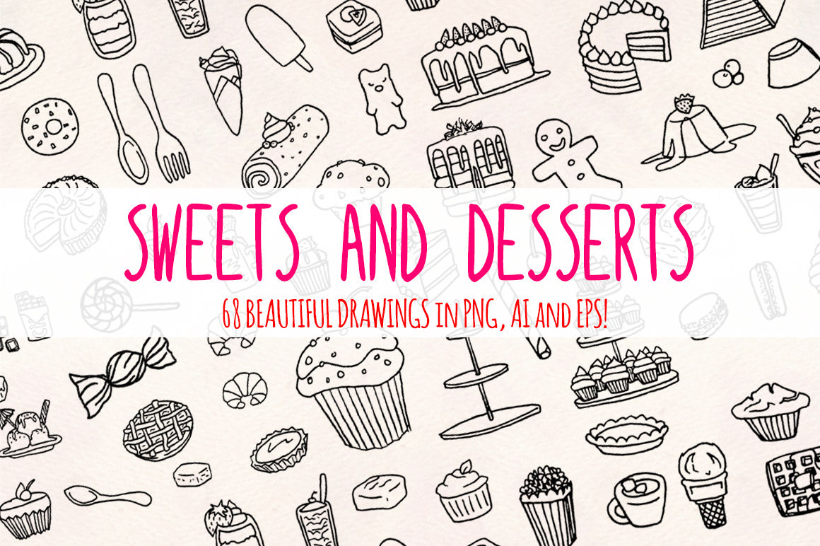68 Sweets Desserts Graphic Sketches By Violet Lebeaux
