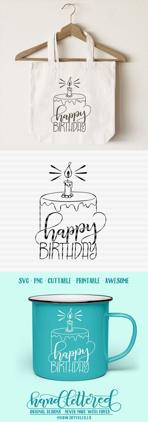 Happy Birthday Svg Pdf Dxf Hand Drawn Lettered Cut File