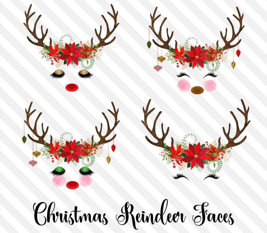 Christmas Reindeer Faces By Digital Curio Thehungryjpeg Com