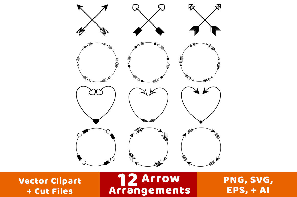 12 Arrows Clipart Arrow Wreath Clipart Rustic Arrow Clipart