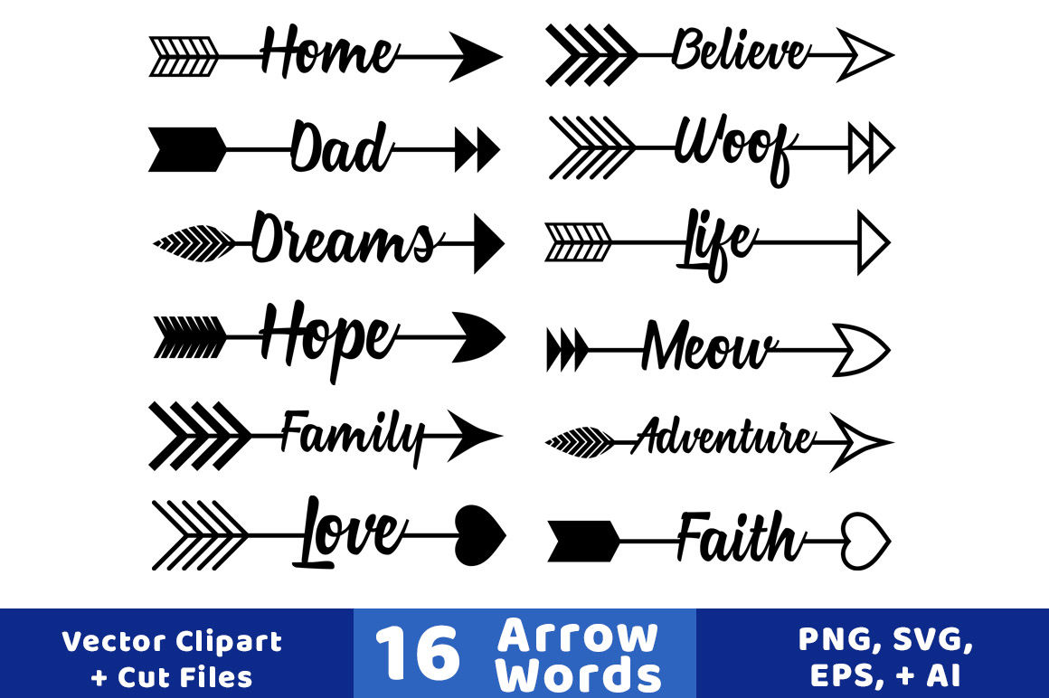 16 Arrow Words Clipart Rustic Arrows Clipart Arrow Svgs Wedding