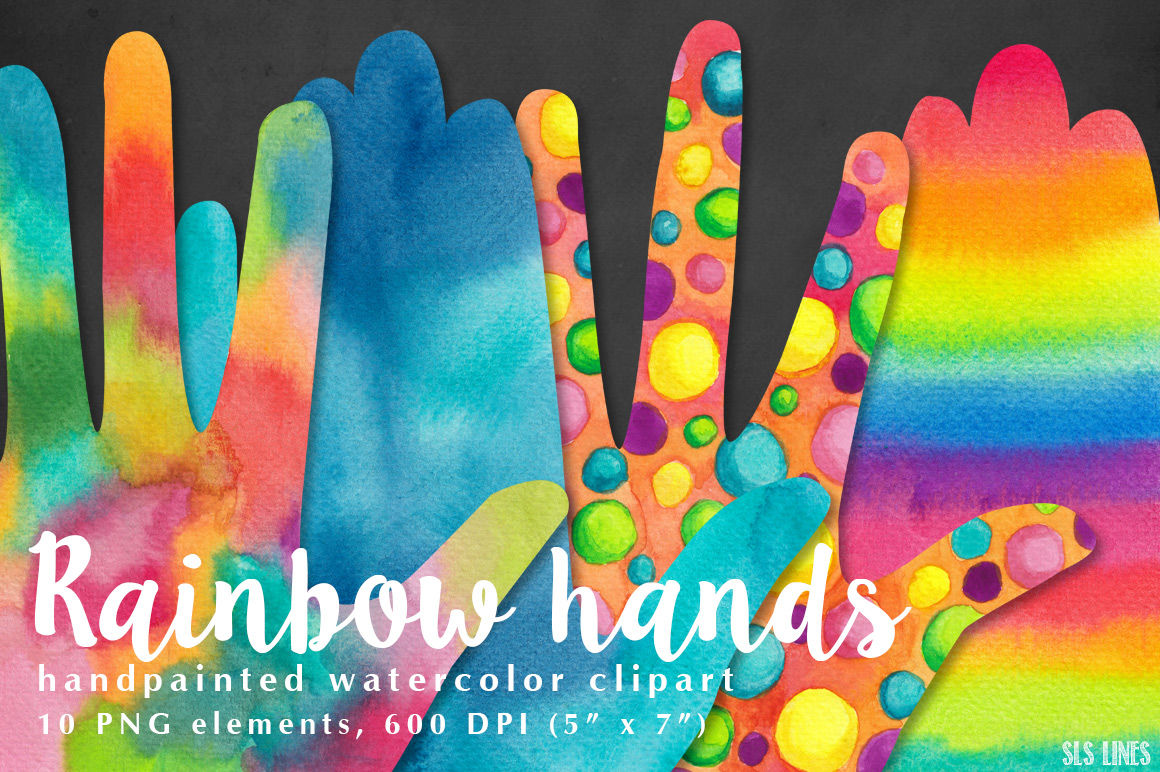 Rainbow Hands Watercolors By Sls Lines Thehungryjpeg Com