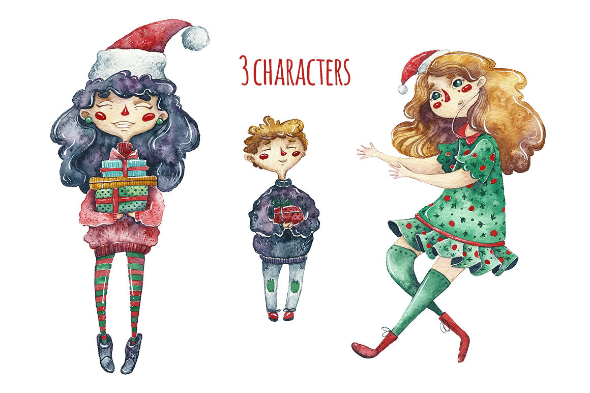 Watercolor Merry Christmas By Talloshau S Illustrations