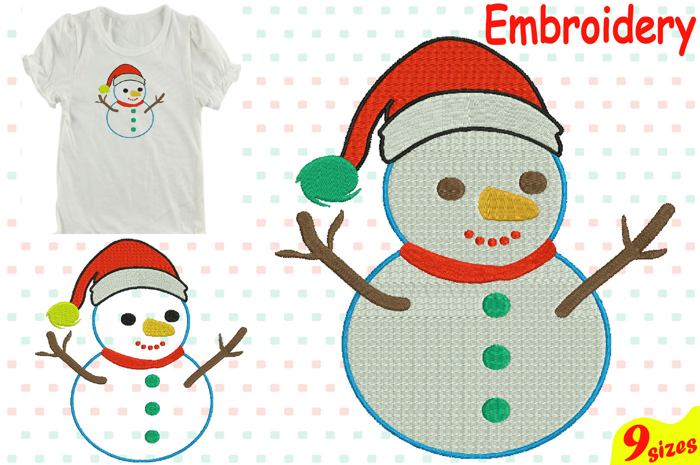 Santa Snowman Designs For Embroidery Machine Instant Download