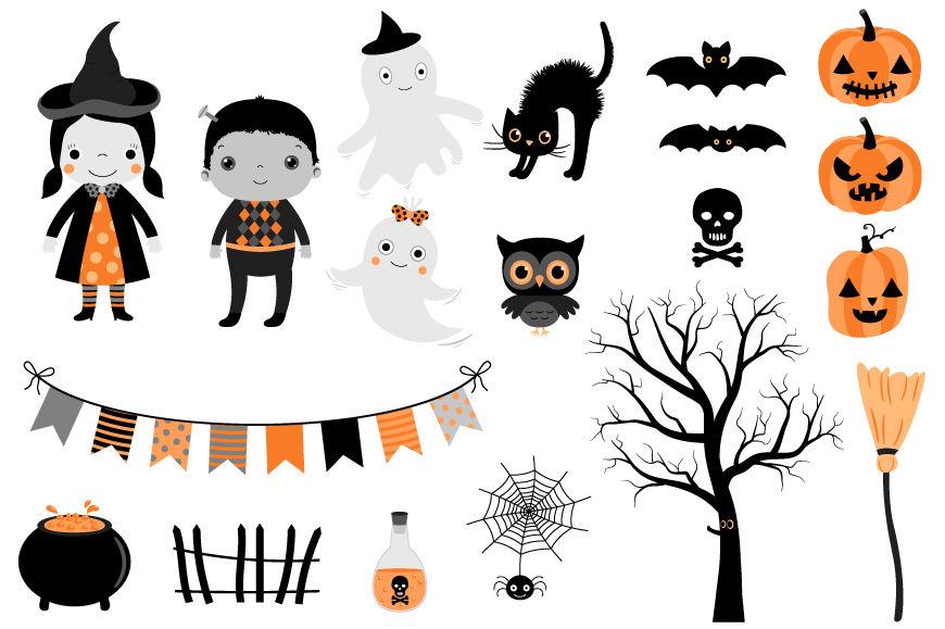 Cute Halloween clipart set, Kids in costumes, ghost ...