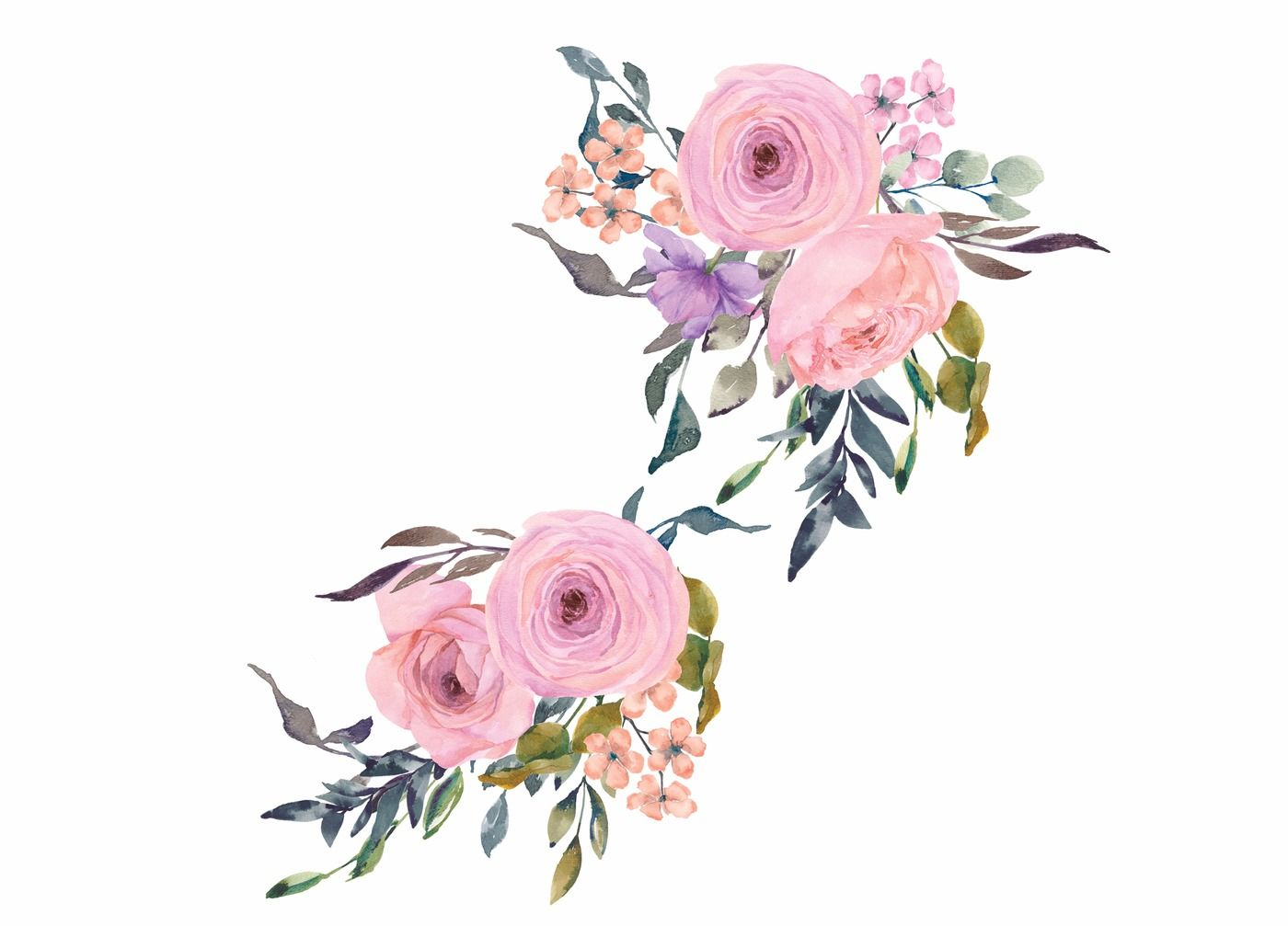 Pink & Blush Watercolor Flowers Clipart Art By Patishop ...