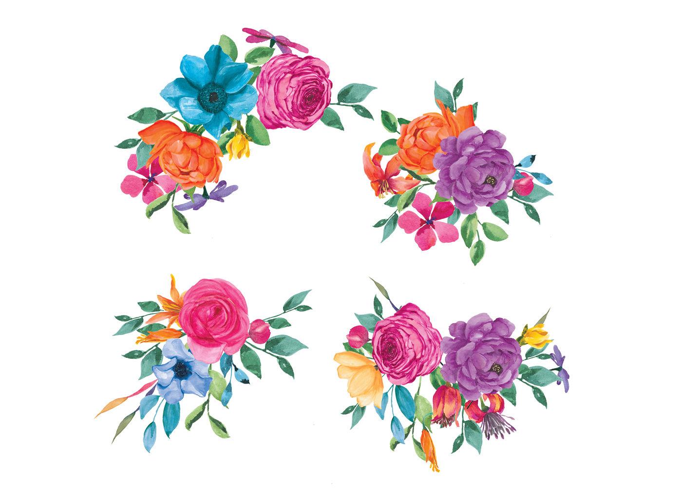 Watercolor Fiesta Flowers Clip Art By Patishop Art ... (1400 x 1007 Pixel)
