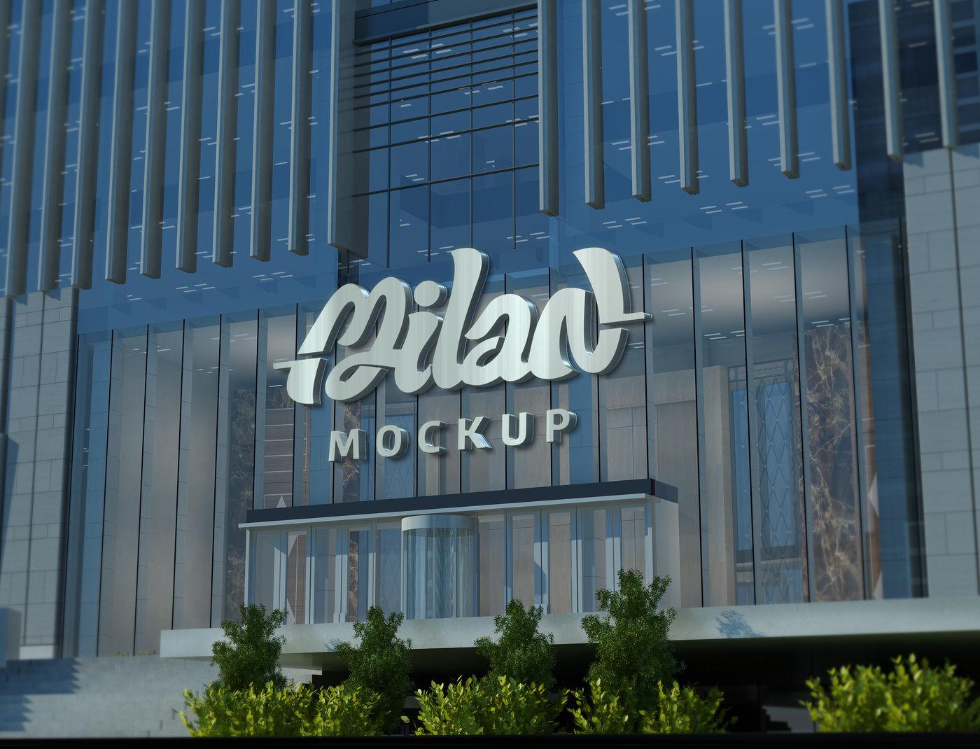 Facade Logo 3D MockUp - Building corporate By Milan Mockup