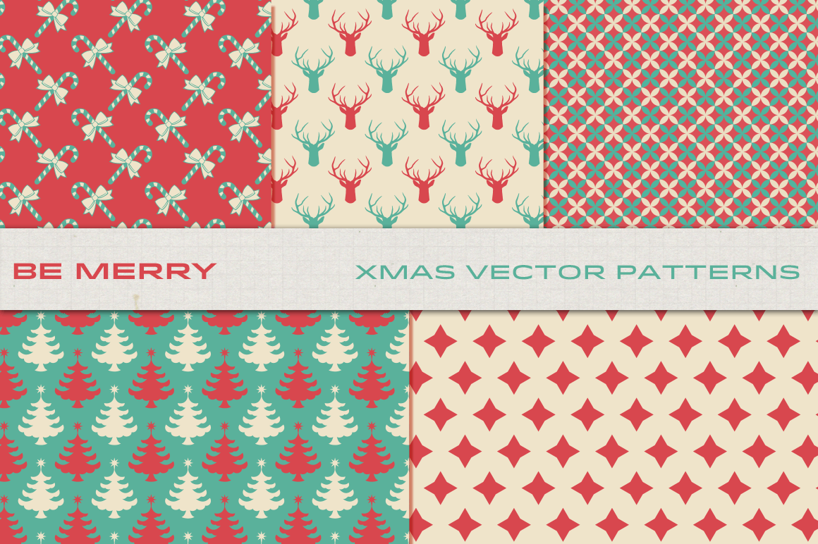 Be Merry Christmas Patterns By Luotero Thehungryjpeg Com