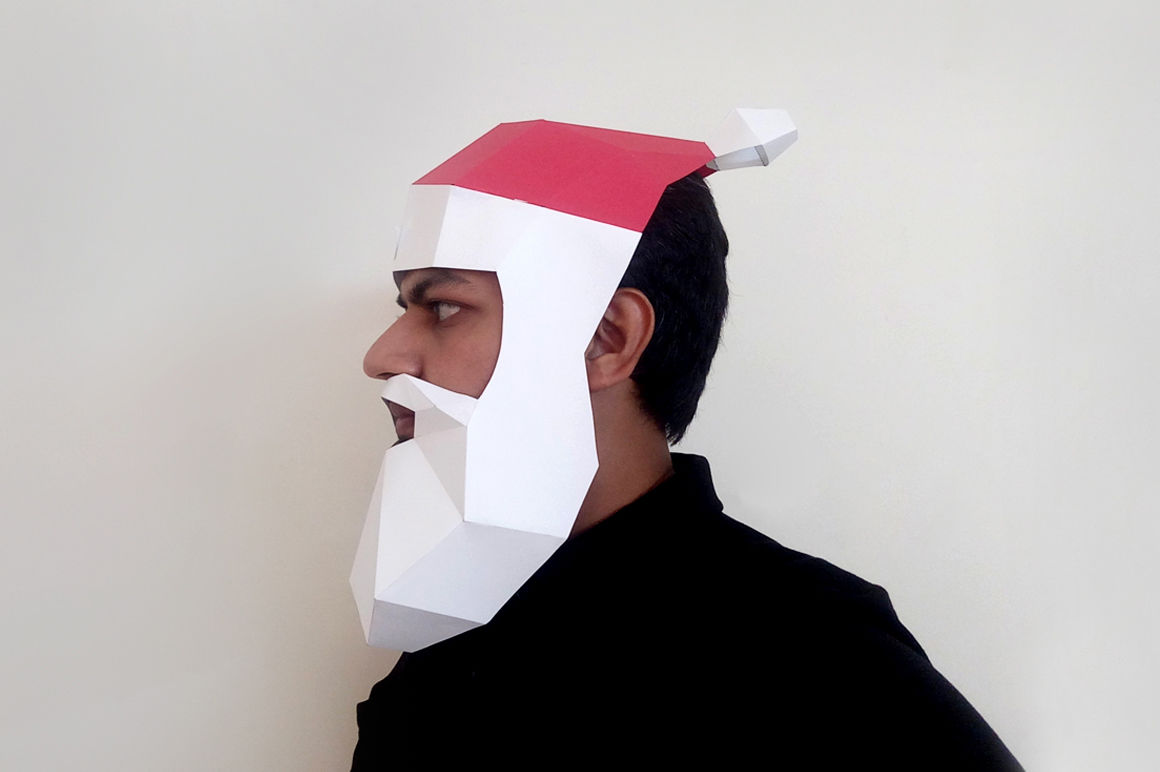Diy Santa Claus Mask 3d Papercraft By Paper Amaze Thehungryjpeg Com