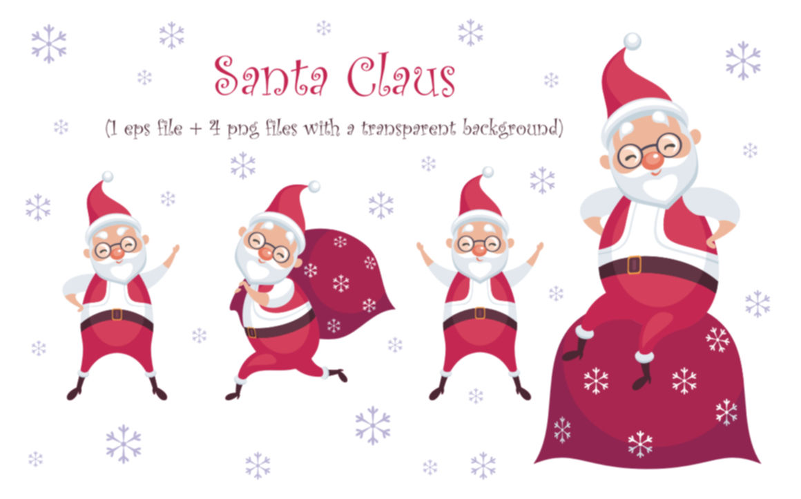 Merry Christmas Santa Claus Cute Animals And Snowmen By Olga