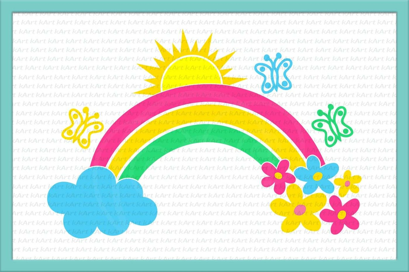 Rainbow Svg Rainbow And Cloud Svg Rainbow And Flowers Svg Sun