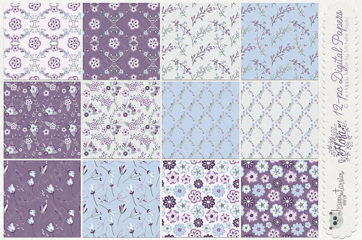 Flower Digital Papers And Seamless Pattern Designs Flora 01