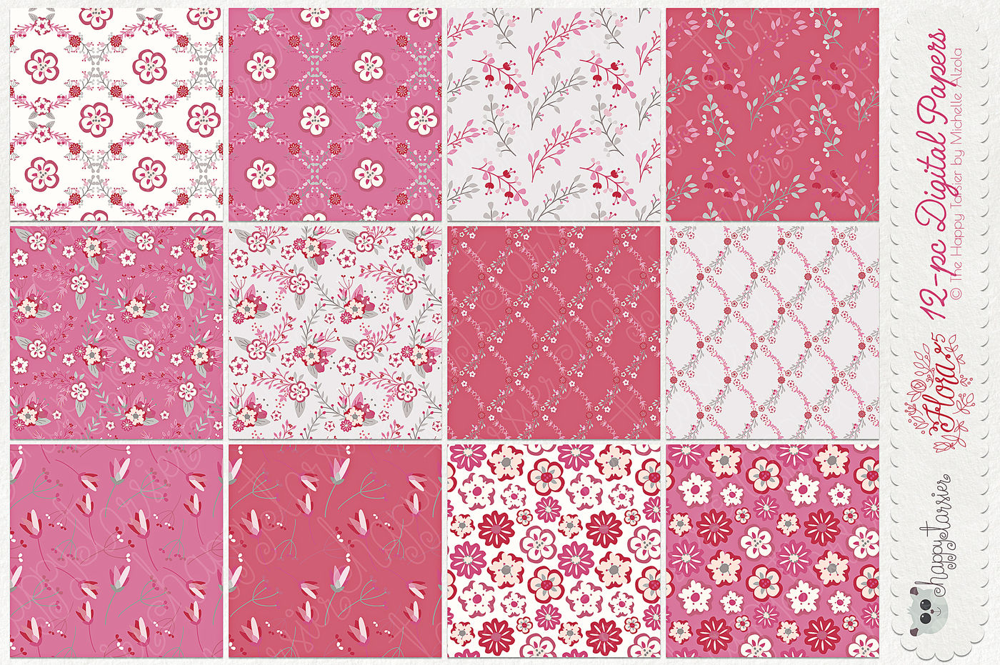 Flower Digital Papers And Seamless Pattern Designs Flora 05
