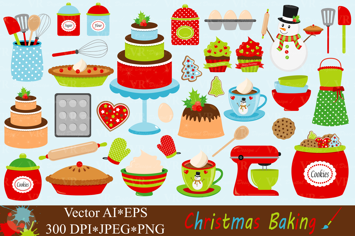 Baking Christmas Cookies Clipart.Christmas Baking Clipart Vector By Vr Digital Design