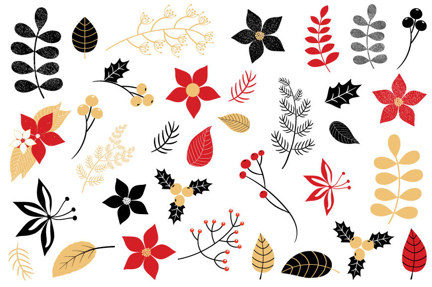 Christmas Foliage Clipart Winter Flower Holiday Floral Clip Art