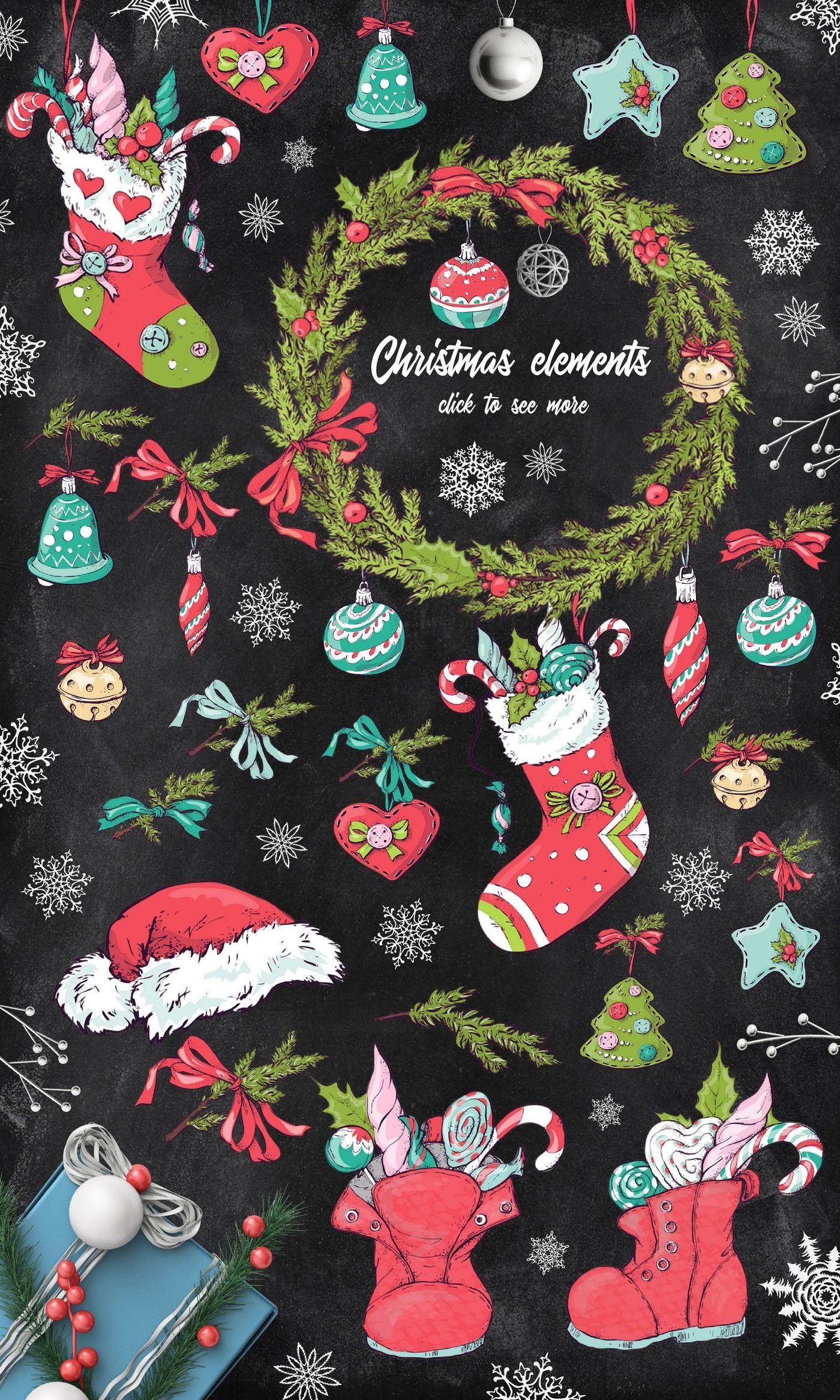 Merry Christmas Big Collection By Yuliya Art Thehungryjpeg Com