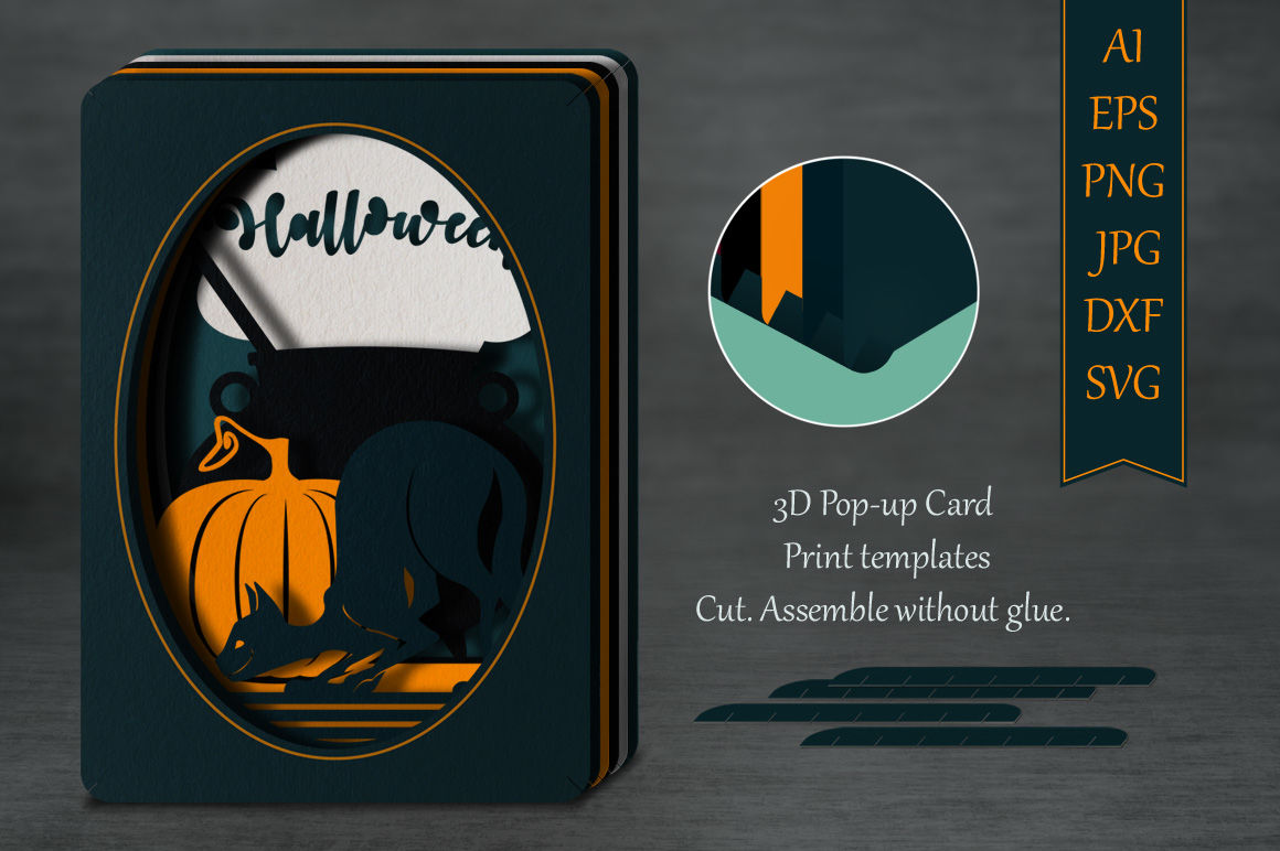 Halloween Pop Up Cards Templates.Tunnel Card Halloween Cat Multiple Machine Formats By