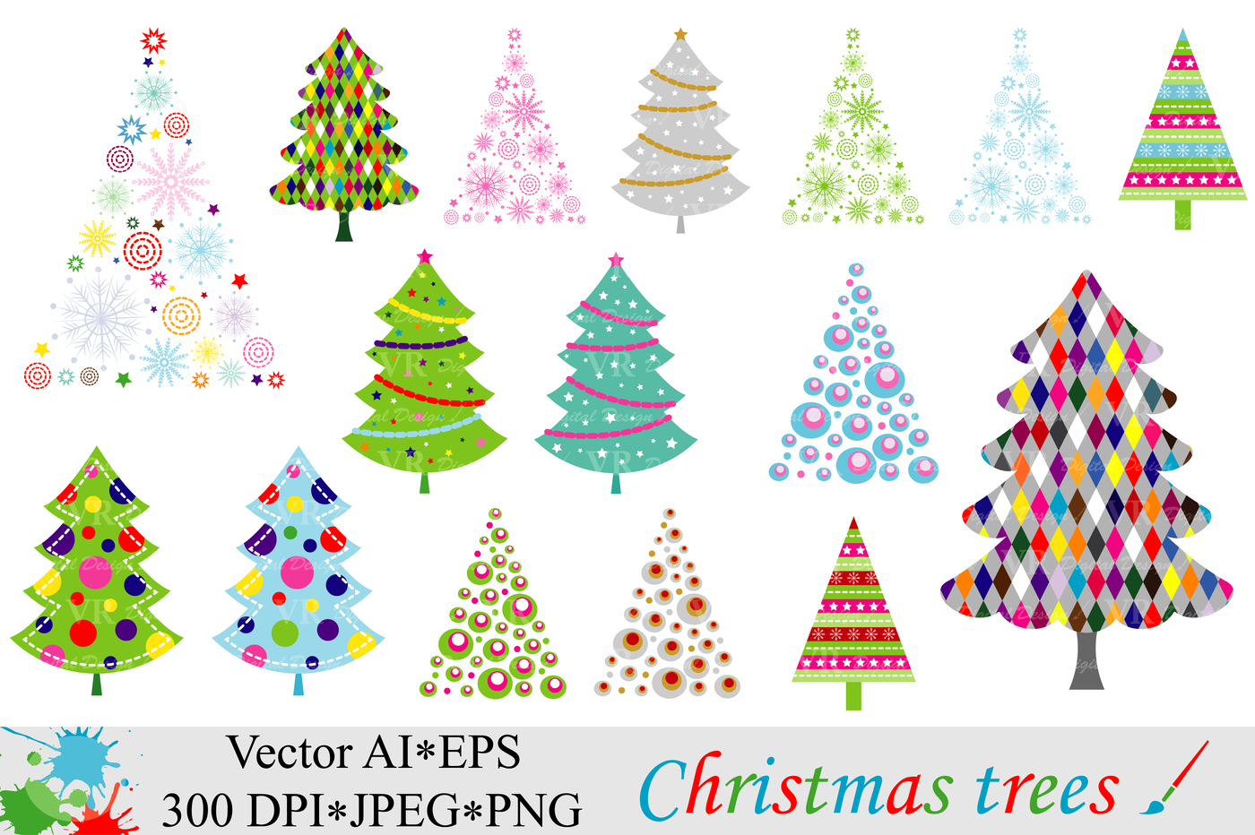 Christmas Trees Clipart Vector By Vr Digital Design