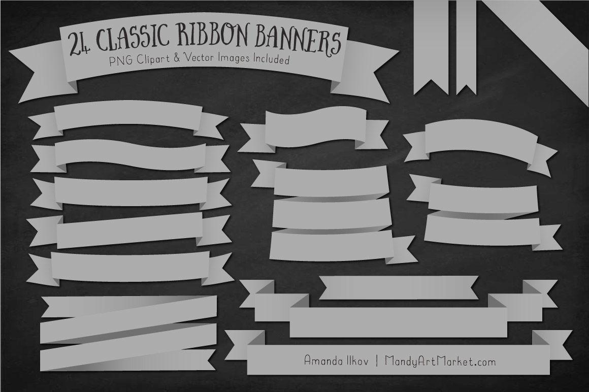 Classic Ribbon Banner Clipart in Grey By Amanda Ilkov ...