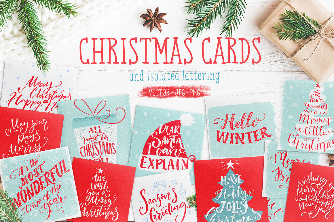 Christmas Cards With Hand Lettering By Pffpics Thehungryjpeg Com