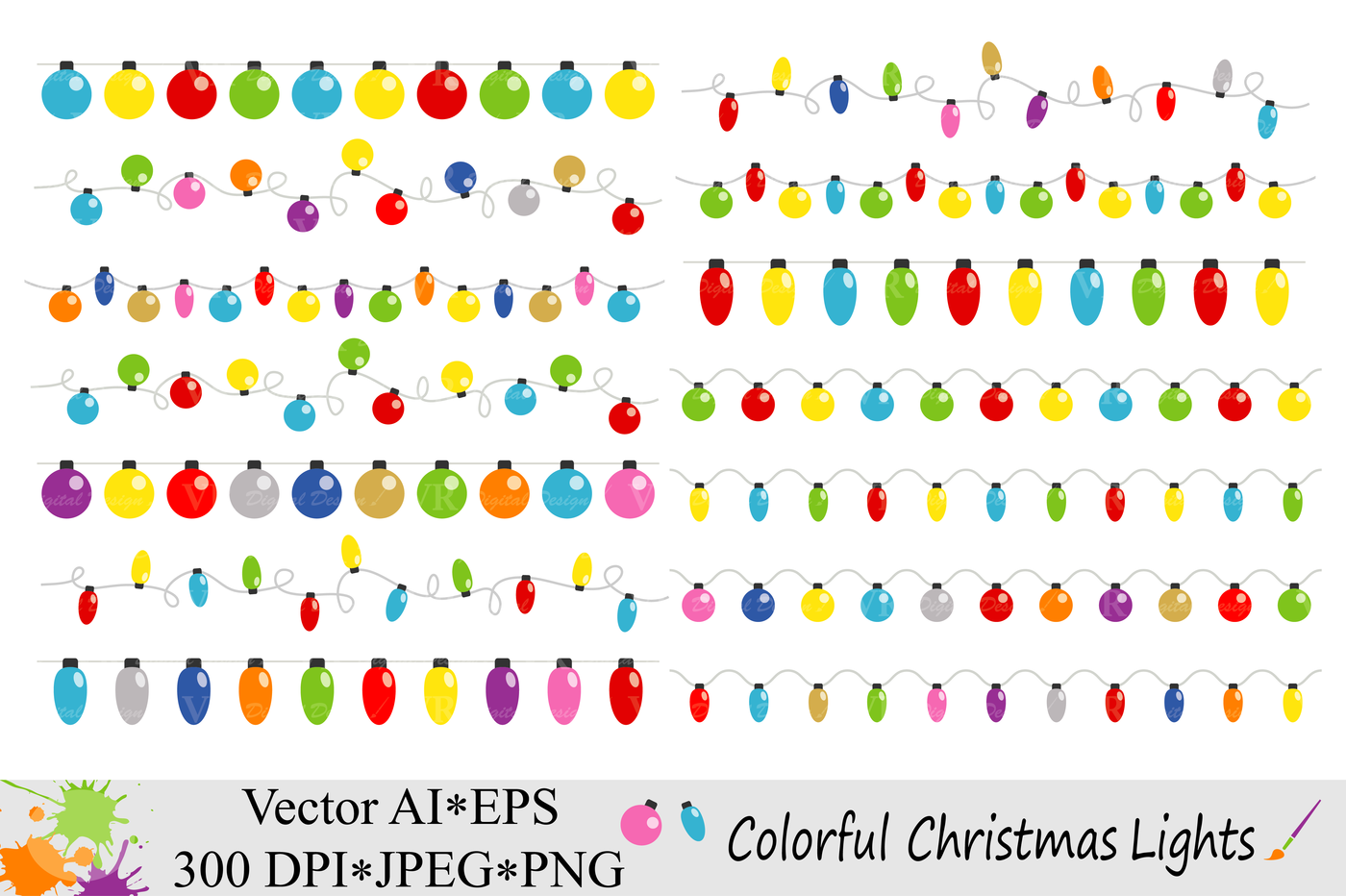 Colorful Christmas String Lights Clipart Vector By Vr Digital