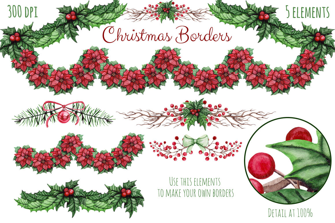 Christmas Watercolor Set By Salted Galaxy Thehungryjpeg Com