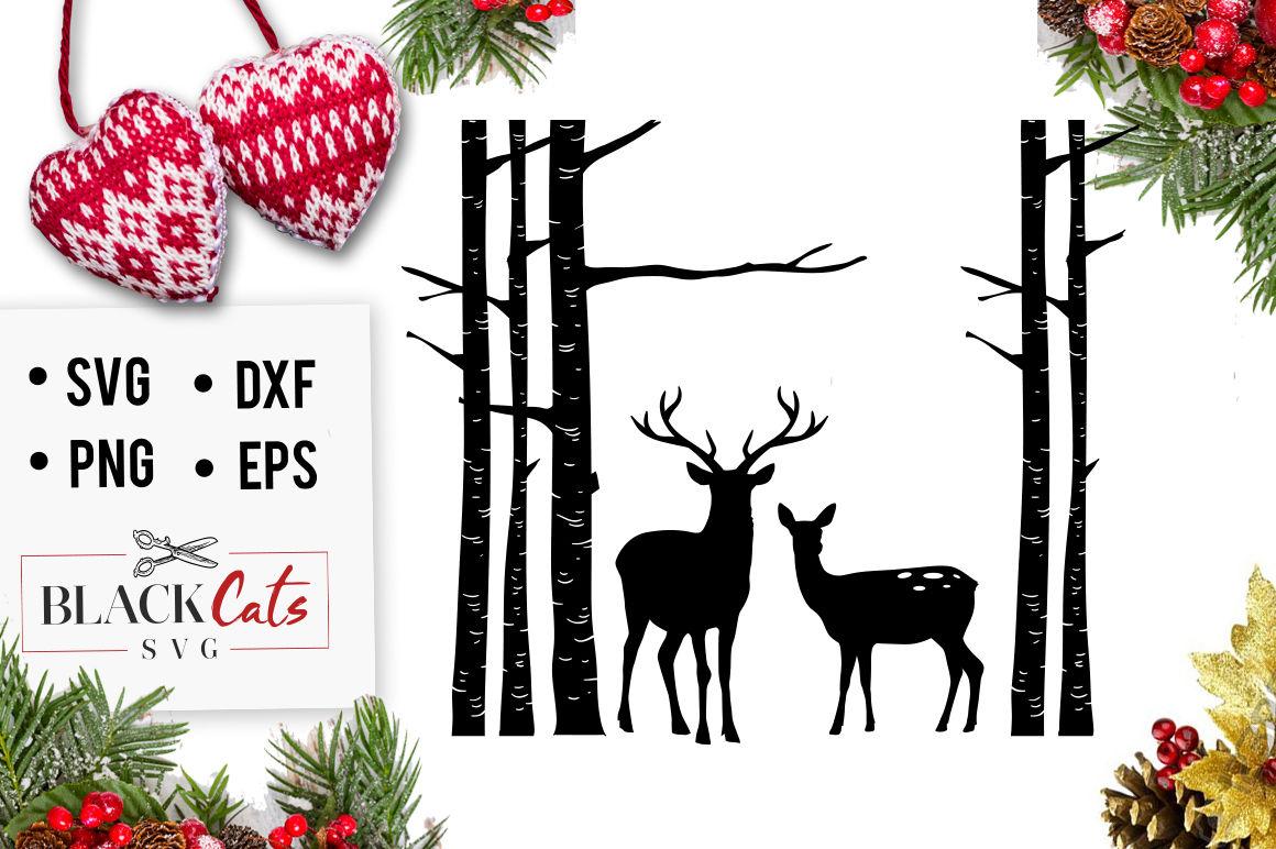 Birch Tree And Deer Svg By Blackcatssvg Thehungryjpeg Com