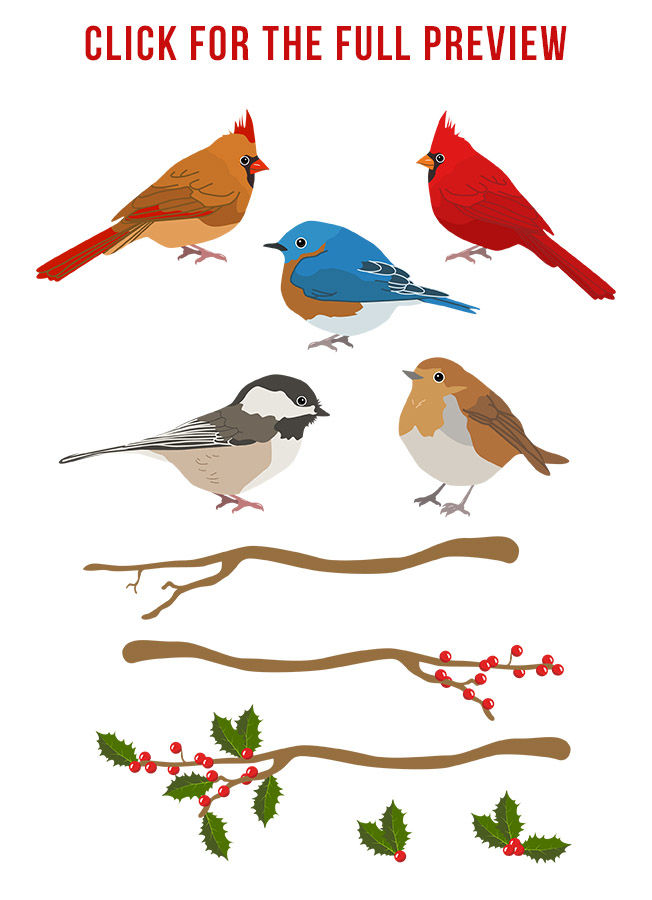 Winter Birds Clipart Christmas Clipart Winter Clipart Holiday