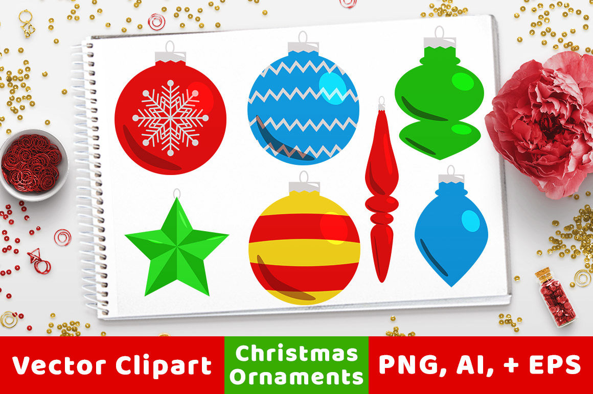 40-christmas-ornaments-clipart-holiday-clipart-christmas-card- ...