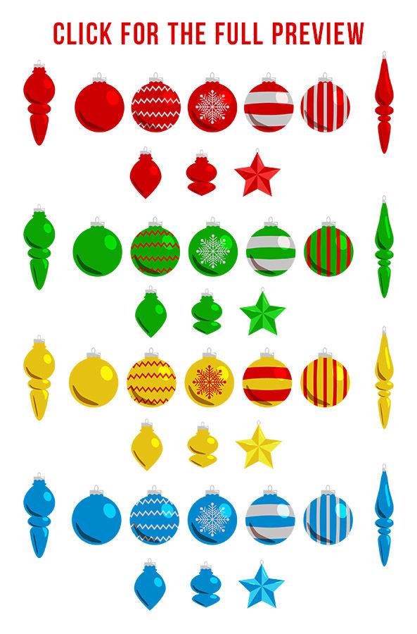 40 Christmas Ornaments Clipart Holiday Clipart Christmas Card