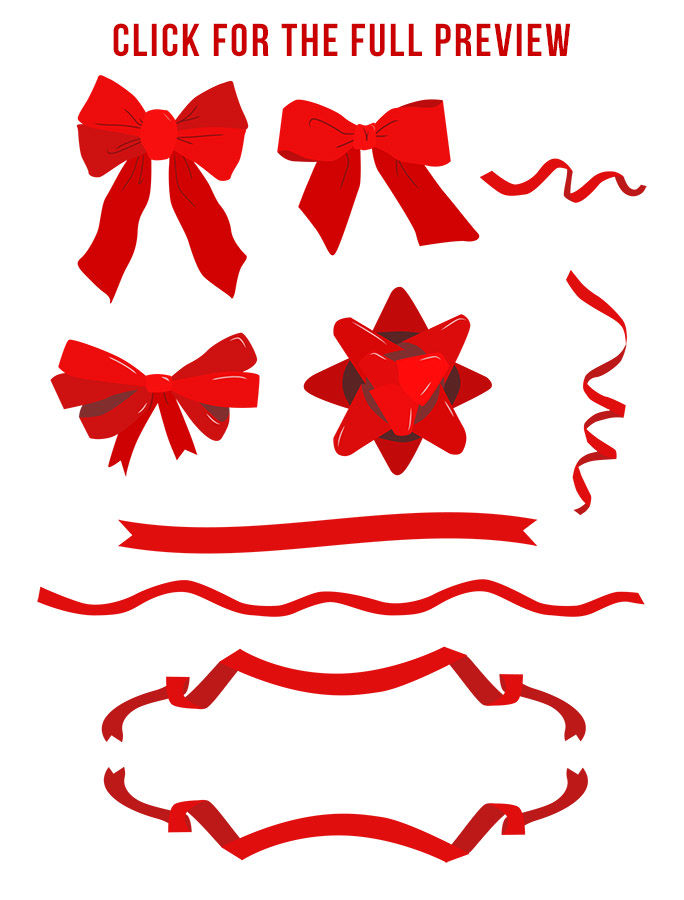 40 Holiday Bows Ribbons Clipart Christmas Bows Ribbon Bow